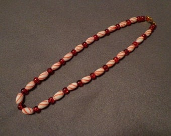 Christmas candy cane necklace