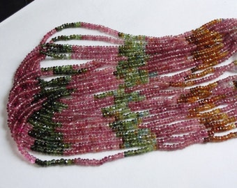 Natural Multi-Tourmaline faceted rondelles beads rich colors size 3mm sold per 14-inch strand GW275