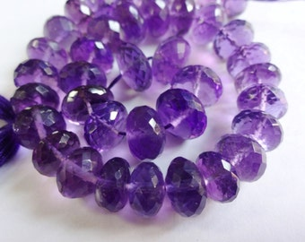 8-inch strand AAA quality Natural Amethyst faceted rondelle beads size 8-9.5mm GW581