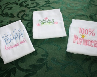 Cute Sayings, Embridered, Baby Burping Cloths.  Set of Three.