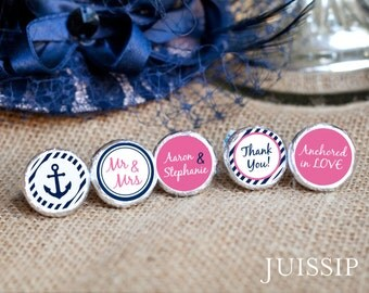 Printed personalized hershey kiss sticker Hershey kiss label Bridal shower Nautical theme wedding Anchor party favor Ready to use Customized