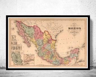 Old Map of Mexico 1859