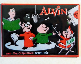 "ALVIN and the CHIPMUNKS  Lunchbox 2"" x 3"" Fridge Magnet Art Vintage TV Show"