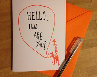 Hand Screen Printed Hello how are you? Fox Greetings Card