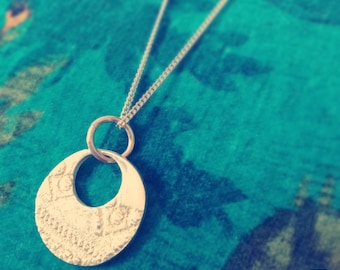 SALE ! Silver necklace with round lace patterned pendant