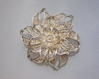 French antique 19th century sterling silver  filigree Flower floral  handmade brooch butterfly dragonflry flower