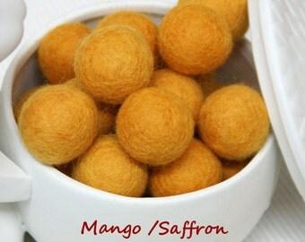 Felt Balls, Felt Beads, Pom Poms, Wool Beads , Color Saffron, Sizes 1.0 cm, 1.5 cm, 2.0 cm, 2.5 cm, 3.0 cm, 4.0 cm