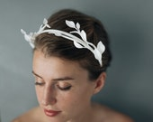 Leaf & Branch Headband- White 3D Printed Modern Floral Headpiece with Ribbon