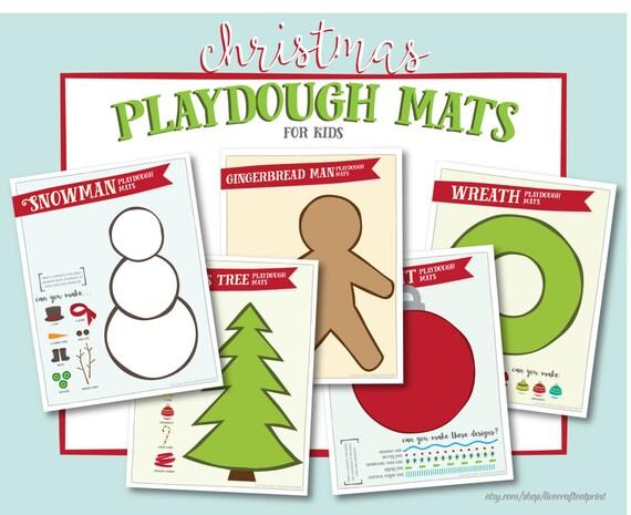5 Printable Christmas Playdough Mats for Kids