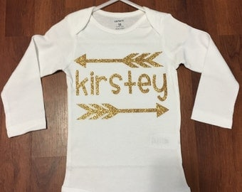 Sparkly Gold Personalized Baby Girl Bodysuit with Arrows
