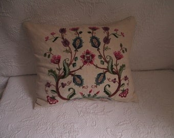 Vintage crewel on linen embroidered pillow