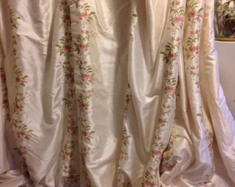 Custom Shabby French Paris Apartment Cottage Chic Ivory Floral Embroidered Lined Elegant Drape Lined Curtain Panel
