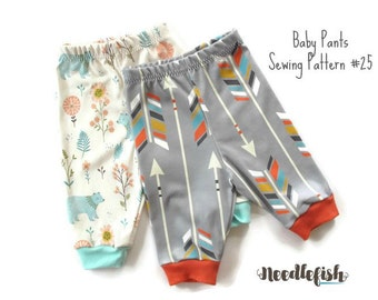 New! BABY PANTS SEWING Pattern - Newborn baby pants sewing pattern - Relaxed-fit Baby Pants Sewing Pattern - Comfy Baby Pants