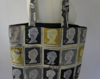 UK First Class Postage Stamps Tote Bag with black lining. Item No. LDC0086