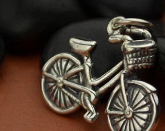 Sterling Silver Bicycle Charm, Children, Family, Hobbies, Exercise