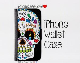 iPhone 6 Plus Case - iPhone 6 Plus Wallet Case - iphone 6 Plus - iPhone 6 Plus Wallet - Sugarskull