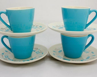 Set of Four Mid-Century Blue Heaven Cups and Saucers/ Royal China, Sebring, Ohio/