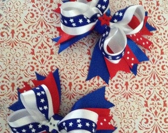 4th of July girls hairbows. Set of 2. Perfect for piggy tails. All American Cutie.