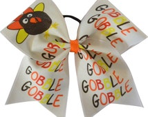 Thanksgiving Gobble Gobble Turkey Cheer Bow | Cheer Bow | Thanksgiving Cheerleading Bow | Turkey Glitter Cheer Bow