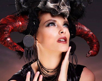 Hot Demonic Barbarian Skull Goddess Crow Witch headdress