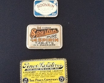 Vintage country store medicine tins