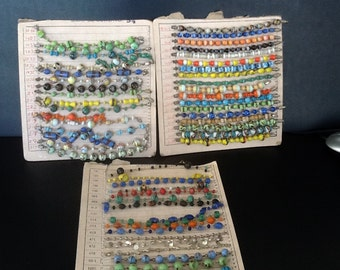 vintage beaded Jewelry sample cards 1960's