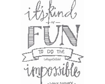 It is kind of fun to do the impossible quote cross stitch pattern hand write letter - PDF Instant download.