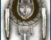 "Dreamcatcher with Wolf Bust  8"" x 10"" Artist Print - Made to Order"