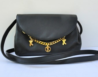 1980 Women's Designer Purse, Vintage 1980s Paloma Picasso Purse Black Signed Charms Made in Italy, 80s Leather Crossbody Bag Long Strap Bag