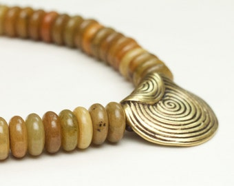 earthy jewelry statement necklace / chunky brass pendant / summer birthday gift / OOAK brown necklace / jade gemstone jewelry aventurine