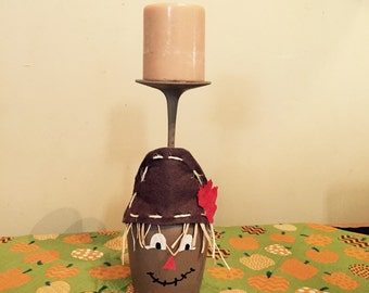 Scarecrow candle, Fall candle, Candle holder, Painted Wine glass