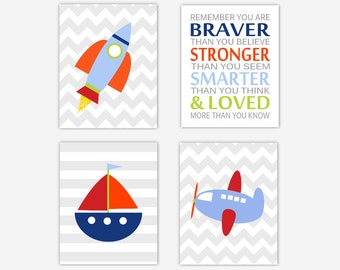 Baby Boy Nursery Art Transportation Nursery Wall Art Rocketship Spaceship Boat Airplane Quotes for Children Nursery Wall Art Boys Room Decor