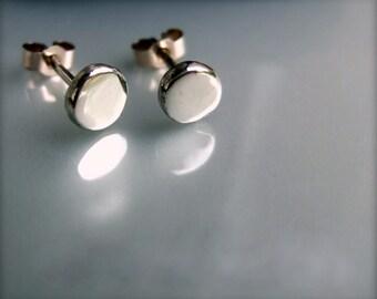 Silver recycled pebble stud earrings, silver stud earrings, silver studs, silver earrings, small silver stud earrings