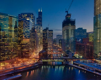 River Skyline #2 - Chicago - Cityscape - Street Photography - HDR - Fine Art - Urban Art - Illinois - Prints