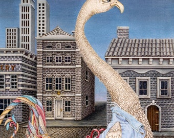"""Limited Edition Print """"Side Street"""", Colored Pencil Drawing of Imaginary Bird, Strolling down the street"""
