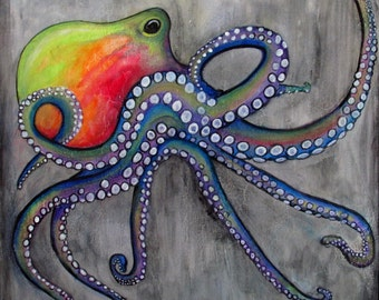 Octopus painting etsy for Colorful octopus painting