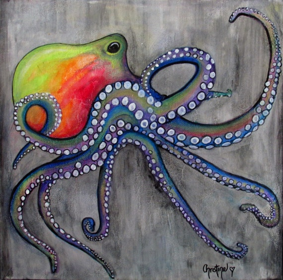 Colorful octopus art for Colorful octopus painting