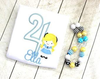 Alice in Wonderland birthday top birthday shirt birthday number birthday shirt with Alice in Wonderland set outfit clothing toddler birthday