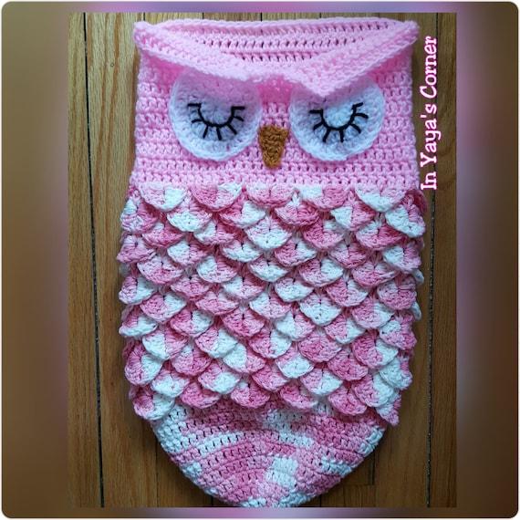 Crochet Owl Cocoon Pattern : Crochet Baby Owl Cocoon - Baby Sack - Sleeping Owl - Photo Prop - PINK