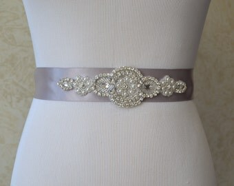 Wedding Sash,Bridal Sash,Rhinestone Sash,Beaded Sash-Silver Satin Sash