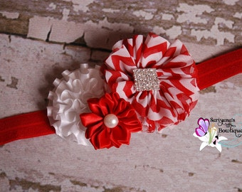 Red White Green Stripe Chevron Satin Chiffon Pearl Rhinestone Headband, Christmas, Holiday, Baby Toddler Girl Woman - SB-064