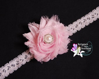 Light Pink Shabby Flower Pearl Rhinestone Lace Headband, Dainty Headband, Single Flower, Flower Girl - Baby Toddler Girl Vintage - SB-041b