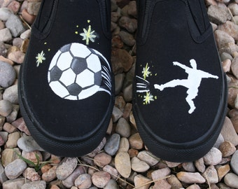 HAND PAINTED SOCCER Shoes, boy shoes, Toddler and Children Sizes