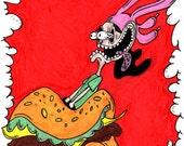 Bob's Burgers Rat Fink Original Custom Sketch Cover Comic Art by Metal Hand