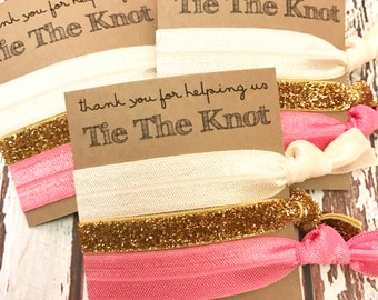 Bridesmaids Gift  Hair Ties   Thank you for helping us tie the knot   Wedding  - Bridal Party Favors - CHOOSE your colors