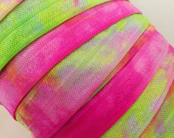 "Tie Dye FOE // 5/8"" Chartreuse-Fuchsia-White Tie Dye Fold Over Elastic - Hair Ties - Headbands - Tie Dye Hair Ties"