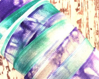 "Tie Dye FOE // 5/8"" Aqua-Violet-White Tie Dye Fold Over Elastic - Hair Ties - Headbands - Tie Dye Hair Ties"
