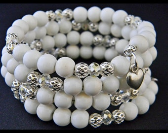 White Glass Bead Memory Wire Bracelet.