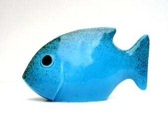 Bright Blue Fish ,  Ceramic Sculpture , Sky  Blue  Fish Ornament.
