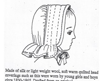 MI9505 - 1800s Child's Quilted Bonnet Sewing Pattern by Miller's Millinery